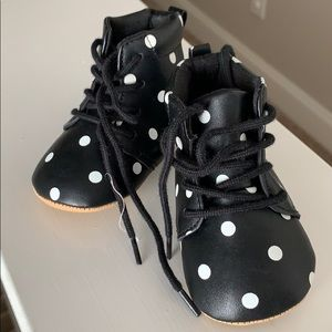 Precious black with while polka dot baby shoes
